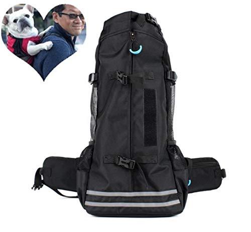 Yeying123 Hundetragerucksack für kleine und mittlere Haustiere Verstellbarer Rucksack mit Aufbewahrungstasche, voll belüftet,Black,L