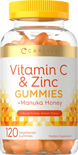 Vitamin C and Zinc Gummies   120 Count   with Manuka Honey   Vegetarian, Non-GMO, Gluten Free Supplement   Natural Honey Lemon Flavor   by Carlyle
