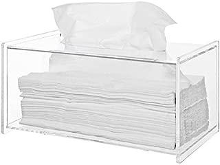Sooyee Clear Acrylic Modern Bathroom Facial Tissue Dispenser Box Cover, Decorative Rectangular Napkin Holder (9.4x4.72x4.6 inches)