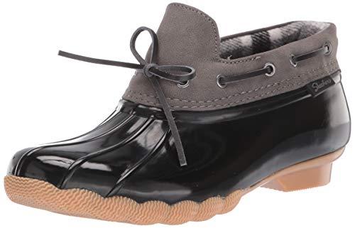 Skechers Women's Pond-Posy ONE-Waterproof Bow Duck Shoe Rain Boot, Black/Charcoal, 10 M US