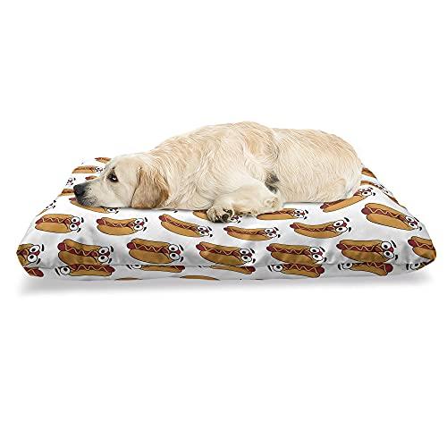 ABAKUHAUS Hotdog Haustierbett, Fröhlich Gekennzeichnet Essen, beissfestes Kissen für Hunde und Katzen mit abnehmbaren Bezug, 60 cm x 100 cm, Aprikose Vermilion