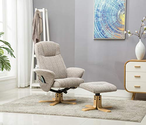 The Monaco Swivel Recliner Chair with Heat & Massage Function - Wheat Fabric