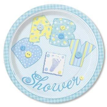 Lot de 8 petites assiettes en carton Motif Baby Shower effet cousu