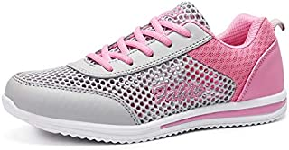 FYXKGLa Summer Breathable Hollow Female Mesh Sports Shoes Mesh Shoes Running Shoes Flat Casual Low to Help Mesh Shoes Women's Shoes (Color : Gray-PNIK, Size : 40EU)