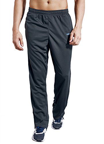 LUWELL PRO Men's Sweatpants with Pockets Open Bottom Athletic Pants for Jogging, Workout, Gym, Running, Training(0317Gray,L)