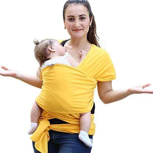 Fular Portabebés, Portador De Bebé Elastico para Llevar Al Bebé Ajustable Baby Carrier para Padres - Amarillo