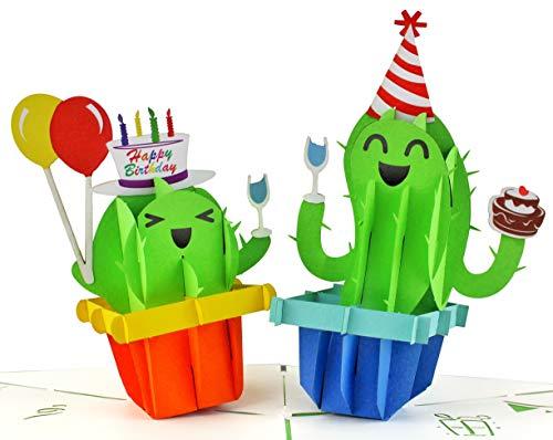 Geburtstagskarte 3D Kaktus Happy Birthday Party, Handgefertigte Klappkarte mit Umschlag, kreativ Pop-Up-3D-Karte zum Geburtstag, lustige Geschenkkarte