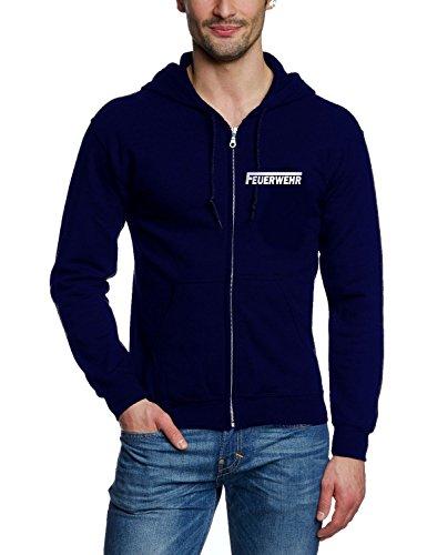 Coole-Fun-T-Shirts Feuerwehr Sweatshirtjacke Jacke mit Kapuze reflektierender Druck vorne + hinten Navy Gr.XL