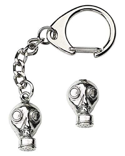 Smartbadge Weltkrieg Gasmaske Schlüsselanhänger und Anstecknadel Geschenkset handgefertigt aus Zinn + 59 mm Anstecker