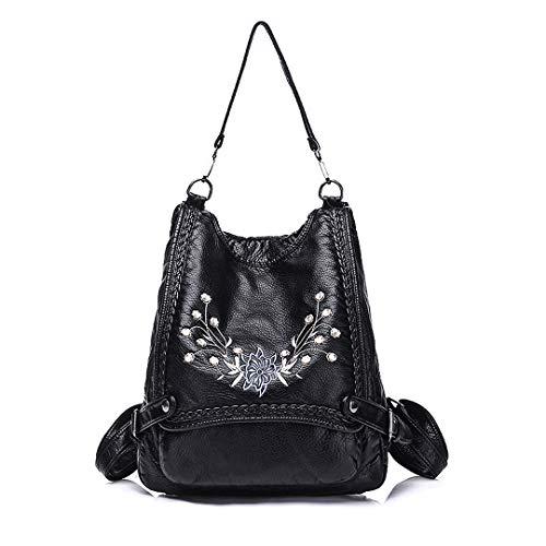 Jiu Bu Cuero Bolsos Bandolera Mujer Mochilas-Flores Bordado Bolsos Hombro Grandes Multifuncional Bolsos Black 01