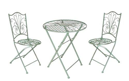 BURI Metal Juego Asiento Mesa plegable sillas plegables verde ANTIGUO MESA de Jardín Sillas de Jardín