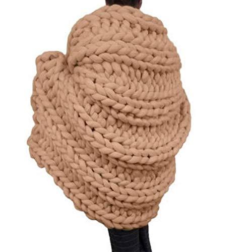 Chicti Gebreide deken, grof gebreid, handgemaakt, reuze-wol borduurwerk, sofa, handgeweven, blokkering, thuis, decoratie, cadeau A