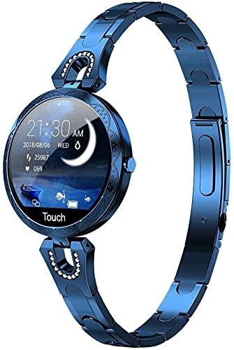 1.3in Kobiety Smart Watch Moda Stal Zegarek IP67 Wodoodporna Damska Bransoletka Krok Fitness Tracker na Androida/IOS, Niebieski