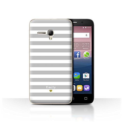 Stuff4Phone Case/Cover/Skin/alcpop355/Custom Stripes/Striped Collection Coeur Argent/Gris