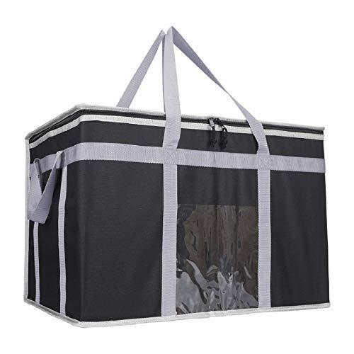 Bolsa de entrega de alimentos de 80 l, bolsa de comida caliente para pizza, sándwich, comida para llevar, bolsa fría con aislamiento térmico, bolsa de supermercado reutilizable (58x36x38cm, negro)