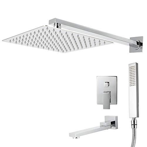Shower System-G1/2in Rosca Montaje en pared Juego de ducha de baño oculto Juego de grifo de cabezal de ducha de mano con rociador superior