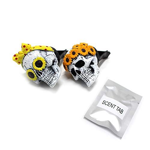 2 clips de ventilación de coche con forma de calavera de resina para coche con aromaterapia, 12,5 x 10,5 x 6 cm