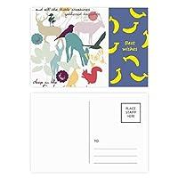 鳥の鹿の花自然環境 バナナのポストカードセットサンクスカード郵送側20個