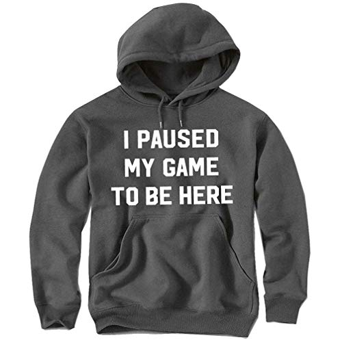 ShiXiShiQuFangRong Logo Hoodie I Paused My Game to be Here Funny Gamer Sweatshirt & Sticker for Men & Youth Gr. Medium, Mehrfarbig