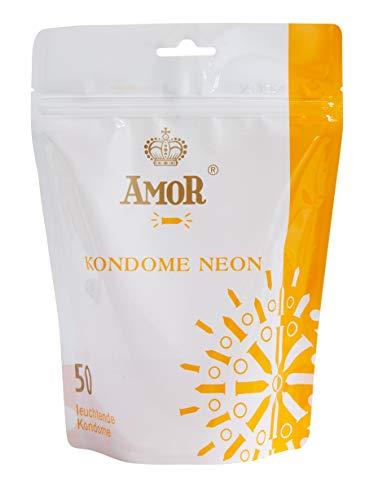 """AMOR \""""Neon\"""" 50er Pack leuchtende Premium Kondome, fluoreszierend, gefühlsecht und extra feucht"""