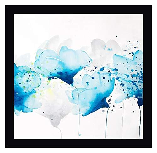 Watercolor Paint Splash Flowers by Atelier B Art Studio - 19' x 20' Black Framed Canvas Art Print - Ready to Hang