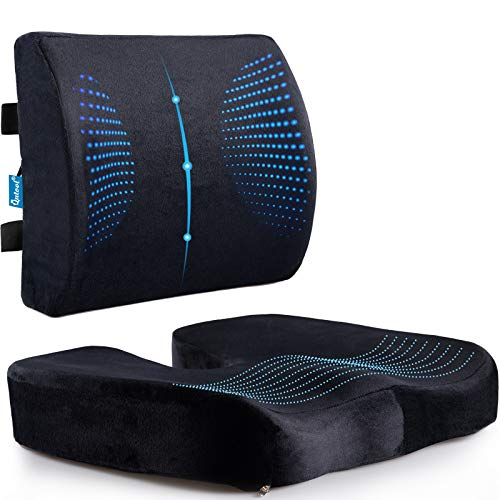 Memory Foam Coccyx Seat Cushion & Lumbar Support Pillow for Office Chair Car Wheelchair Orthopedic Chair Pad and Back Cushion with Adjustable Straps for Lower Back, Tailbone, Sciatica, Hip Pain Relief