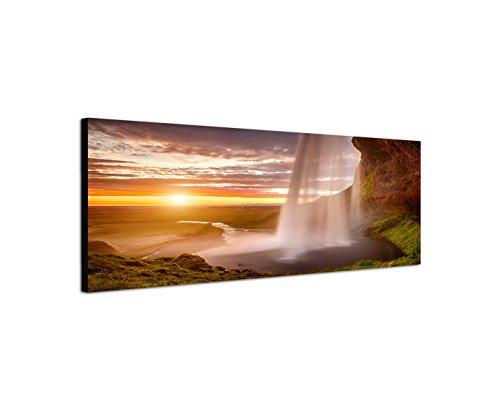 Quadro da parete su tela come Panorama in 150x 50cm Mare Roccia cascata tramonto