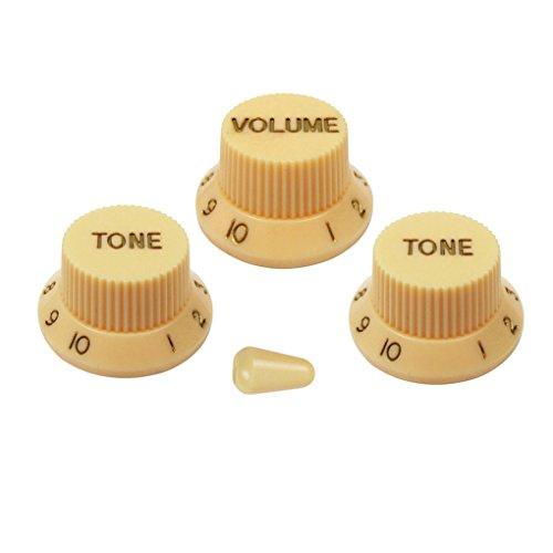 FLEOR Strat 2T1V Perillas de control de volumen de tono de guitarra y punta de interruptor de palanca de 5 vías para partes de guitarra eléctrica, crema con letra dorada