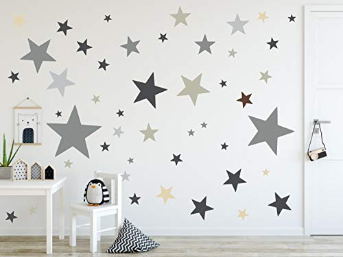 timalo® 120 Stück Wandtattoo Kinderzimmer XL Sterne Pastell Wandsticker – Aufkleber   73079-SET12-120