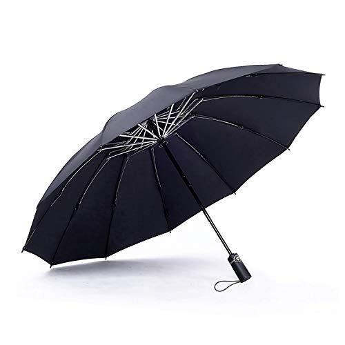 WSKY 12 Ribs Inverted Umbrella Windproof Automatic Folding Umbrella Auto Reverse Umbrella Black