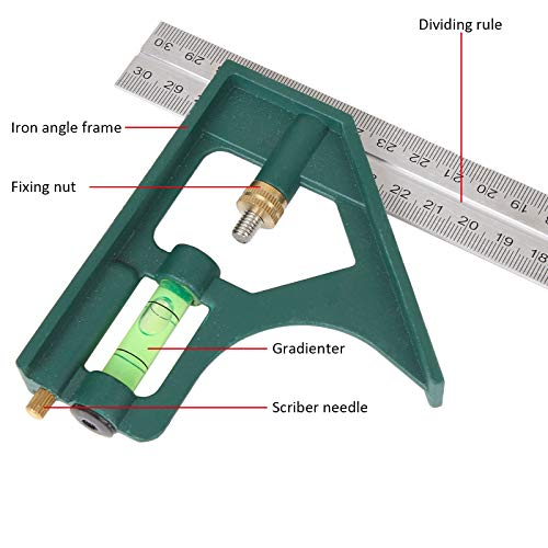 WENCHENG Combination Square and Rafter Square Tool Set, 2 PCS 7 Inch Speed Square Layout Tool and 1 PCS 12 Inch Combo Square