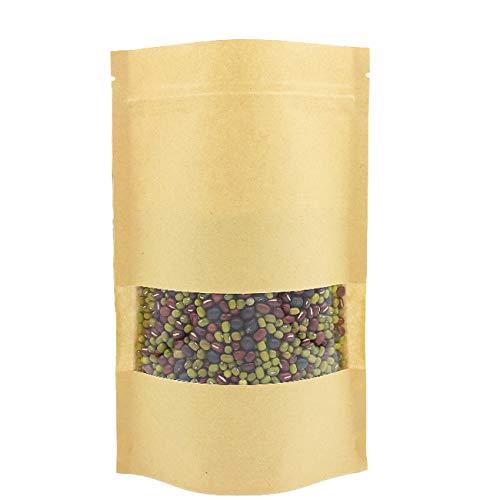 LERT Selbst dichtende Kraftpapier Tüten, Wiederverwendbarer Kraftpapier Stand up Taschen, Aufbewahrungsbeutel für Lebensmittel mit Mattem Fenster 18 * 26 cm, 20 STK