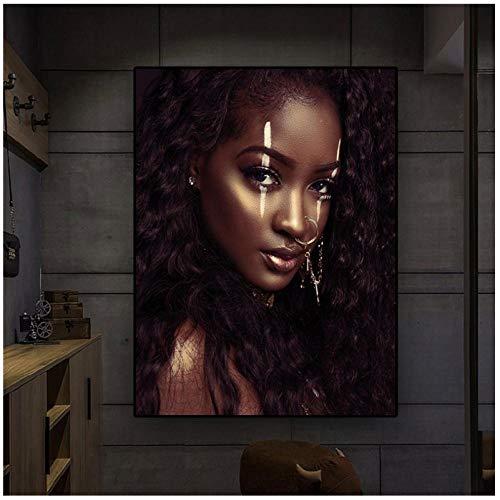 Jykrjcc Arte Africano En Blanco Y Negro Mujer Sexy Pintura En Lienzo Carteles Nórdicos E Impresión Imagen De Arte De Pared Escandinavo Para Sala De Estar (60X80Cm) Sin Marco
