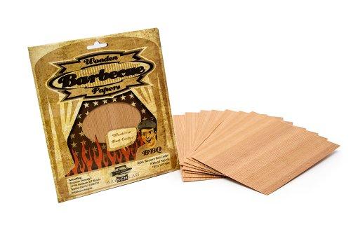 Axtschlag Grillpapier Zeder, zum schonenden Garen, hält das Gargut saftig, für Grill & Backofen, auch zum Servieren, 8 Wood Papers + Schnur, 190x150x1 mm