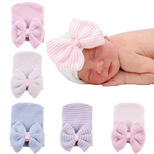 Upeilxd Newborn Hospital Hat Infant Baby Hat Caps with Bow Soft Cute Nursery Beanie Hat (5 Pack Bow/0-6 Month)