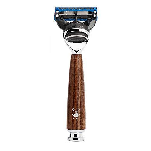 MÜHLE 5-Klingen-Rasierer kompatibel mit Gillette Fusion-Klingen - Griff aus gedämpfter Esche und Metallakzenten