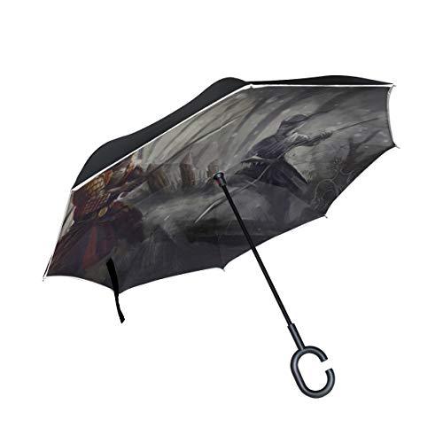 Paraguas invertido de Doble Capa Hombres invertidos misteriosos Ninja sostiene un Cuchillo en su Mano Paraguas Plegable al Aire Libre Paraguas invertido ventilado Protección contra los Rayos UV a PRU