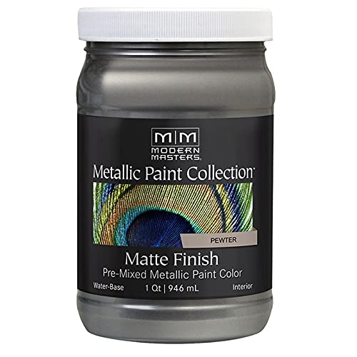 1 qt Modern Masters MM209 Pewter Metallic Paint Collection Water-Based Decorative Metallic Paint Pack of 1