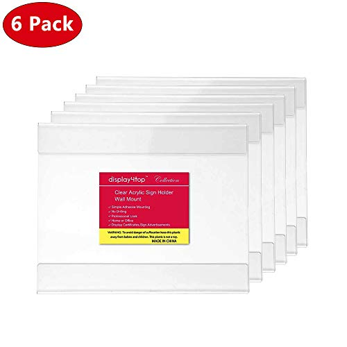 Display4top 6 Pack of Wall Mount 8.5 X 11 or 11 X 8.5 Clear Acrylic Sign Holders with Adhesive, No Drilling