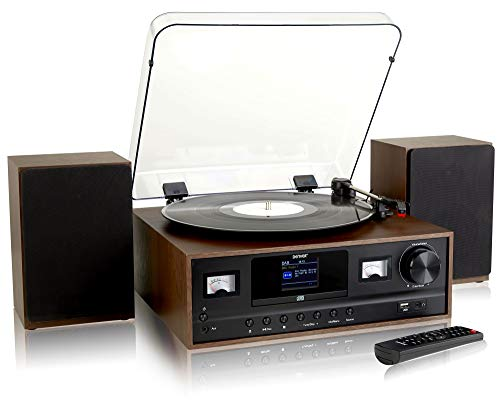 Denver MRD-105 7-in-1 Record Player Hi-Fi System With 2.4-inch Colour Screen - CD Player, Bluetooth,...
