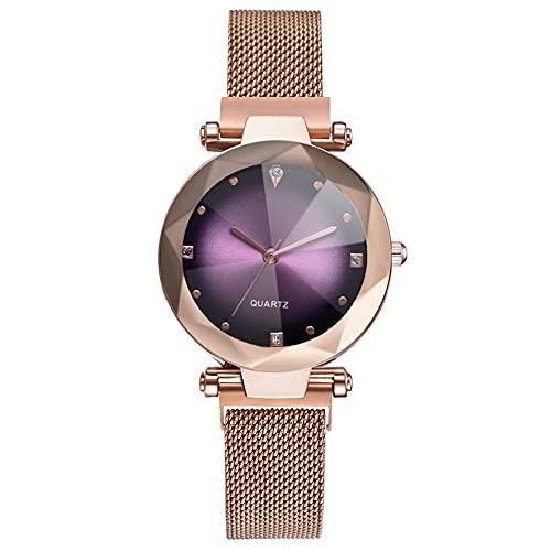 Reloj de cuarzo con diamantes de imitación - Reloj de cuarzo decorado con diamantes de imitación para hombre (oro rosa)