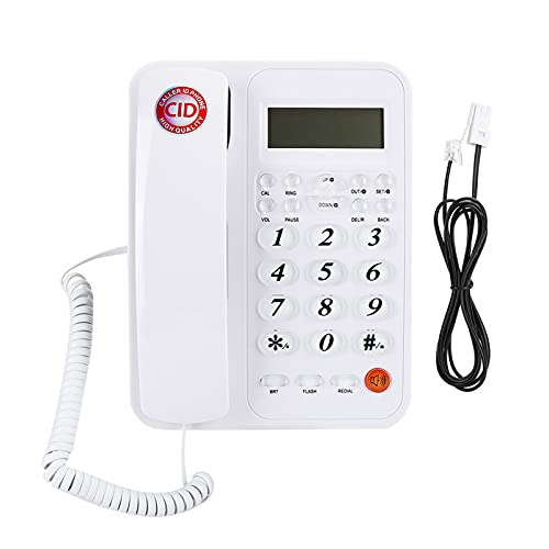 Plyisty Teléfono Fijo con Cable, teléfono Duradero con Pantalla LCD de 16 dígitos y función de repetición y Volumen y Flash Ajustables del Auricular para el hogar y la Oficina