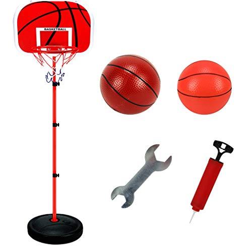 UKtrade 63 – 150 cm ajustable de baloncesto soporte y aro conjunto para niños niños, incluye 2 pelotas de baloncesto, llave y bomba de aire