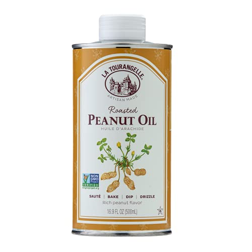 La Tourangelle, Roasted Peanut Oil, Perfect for Deep Frying, High Heat Cooking, Adding to Noodles, Stir-Fries, Vinaigrettes, and Marinades, 16.9 fl oz