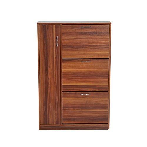 HomCom Zapatero Original y Paragüero Organizador - Tipo Recibidor con 1 Puerta y 3 Cajones - Nogal - 80 x 24 x 120cm