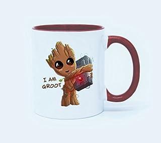 هدية مرحة لمحبي القهوة - أكواب مرحة - مج قهوة I'm Groot كوب شاي سعة 325 مل, سيراميك, احمر, 11 Ounce