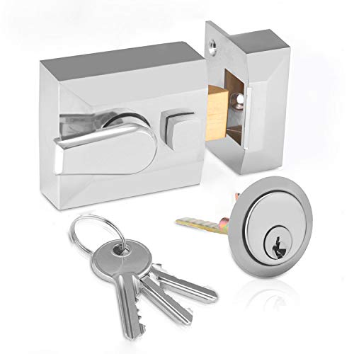 XFORT Narrow Deadlocking Night Latch 40mm, Complete with Rim Cylinder and 3 Keys, Elegant Satin Chrome Nightlatch, External Door Lock for Front Door, High Security for Your Home or Workplace