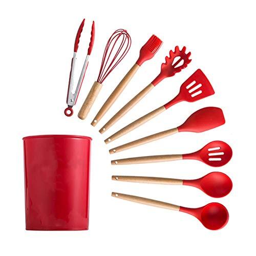 YTG Silikon-Kochgeräte Set Nicht-Stick-Spatel-Schaufel-Holzgriff-Kochwerkzeuge mit Aufbewahrungsbox-Küchenwerkzeug-Zubehör (Color : Champagne)