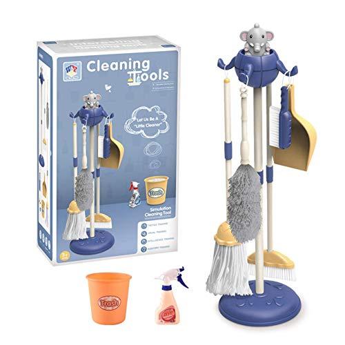 bottl Simulación pequeña fregona escoba eliminación de polvo juego casa de dibujos animados juguete de limpieza niños niña herramienta de limpieza azul adecuado para cultivar el interés de los niños
