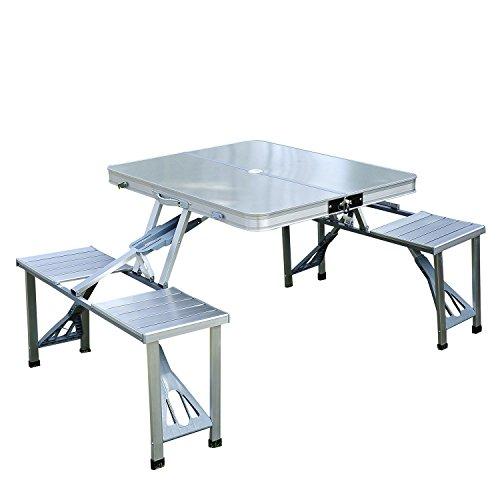 Outsunny Mesa Plegable 4 Asientos Aluminio con Agujero para Sombrilla para Camping Playa Picnic Exterior 136x85,5x66 cm
